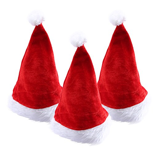 PrettyQueen Hat Or Nice Festive Holiday Hat Velvet Santa Hat For Adult or Children, 3 pieces (Cheap Santa Hats)