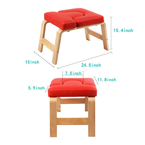 Desire Life Yoga Headstand Bench - Stand Yoga Chair for Family, Gym - Wood and PU Pads - Relieve Fatigue and Build Up Body (Red) by Desire Life (Image #2)