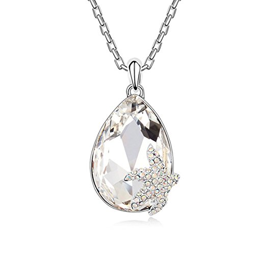 MoAndy Pendant Necklace for Women White Teardrop AAA Zirconia Starfish Silver Plated Rolo Chain