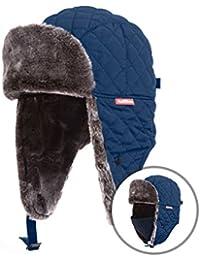 Winter Trooper Trapper Hat Ushanka Russian Ear Flap Aviator Hat With Mask