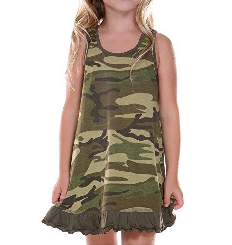 Kavio! Little Girls 3-6X Camouflage A-Line Tank Dress Camo Army Green 6X
