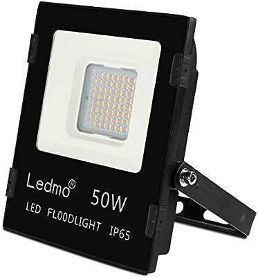 Focos Led Exterior 50W 2700K blanco cálido 4800LM Impermeable IP65 Floodlights AC85-265 SMD3030 Proyector LED para Iluminación Jardin Negro: Amazon.es: Iluminación