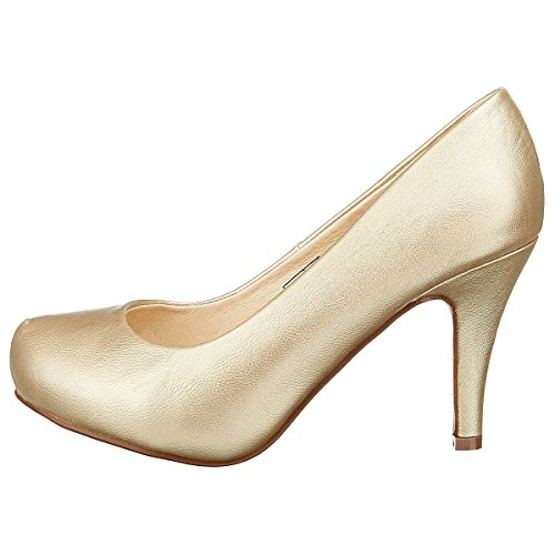 BUFFALO Damen Plateau Pumps Damenschuhe, gold, EU 40