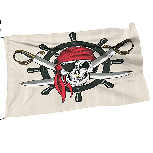 - Moeeze-Home Garden Flag Set Pirate Skull with Scarf Crossed Swords Violence Sea Sailing Risky Adventurous Gift for Children or Parents24 x 36