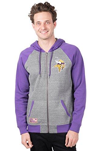 ICER Brands Adult Men Full Zip Hoodie Sweatshirt Raglan Jacket, Team Color, Gray, Large