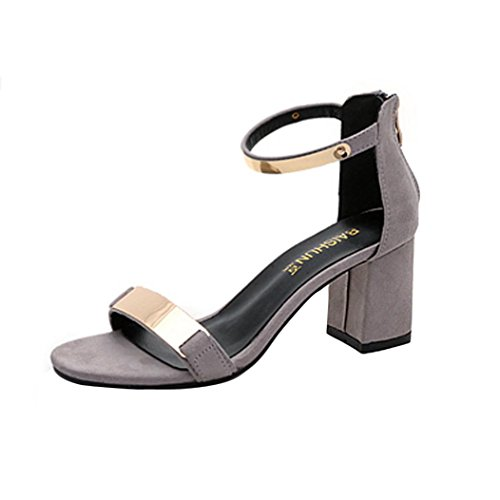 Han Shi Women Summer Fashion Sandles Open Toe Party Thick Heel Shoes Wedges (Gray, 4.5) by Han Shi