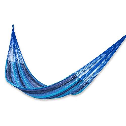 NOVICA Sky Blue Navy Striped Cotton Hand Woven Mayan Rope 2 Person XL Hammock, Huatulco