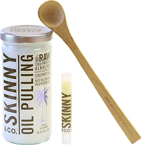 (SKINNY and CO. 100% Raw Peppermint & Coconut Oil Pulling Kit for Healthier Teeth and Gums (8.5 Oz))