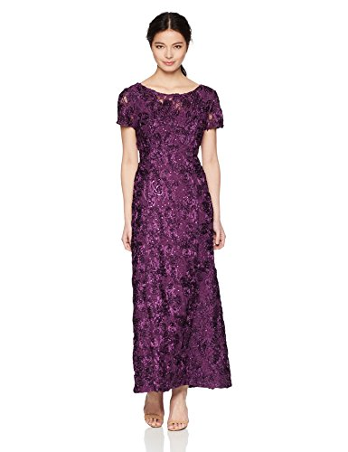 A-line Sequin - Alex Evenings Women's 14P Long A-line Rosette Dress with Short Sleeves Sequin Detail, Eggplant, 14P