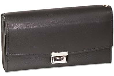 """""""Rimbaldi"""" camareros profesionales billetera eso es gran bolsillo para monedas y piso de cuero de piel de becerro natural, suave en negro"""