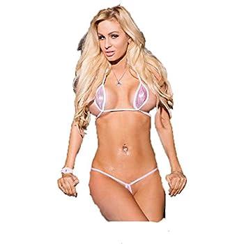 94da2ffecc39 Sparkly Pink Sexy Teardrop Bikini 2pc Micro Gstring Exotic Minimal Cover w  White