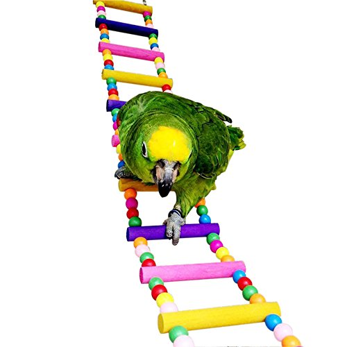 Colorful Ladder Bird Toy, 12-Step Flexible Ladders Wooden Rainbow Bridge for Parrots Trainning by Davias