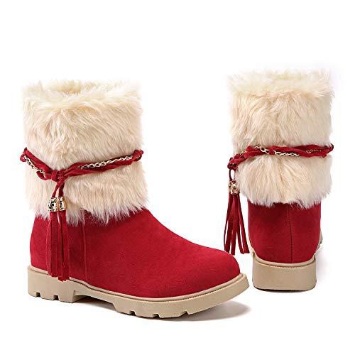 Susanny Women's Winter Fashion Warm Short Booties Casual Outdoor Suede Flat Heel Waterproof Faux Fur Red2 Snow Boots 7 B (M) US (Shoe Red Sneaker Wedge Women In)