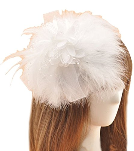 White Christmas Movie Costume Design (Fascinator Hair Clip Feather Headpiece Cocktail Party Wedding Hair Accessories (White))
