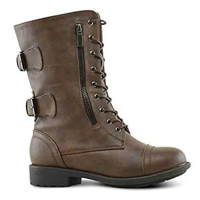 Top Moda Women's Pack-72 Lace Up Combat Boot, TPS Pack-72 v2 Brown Size 5.5