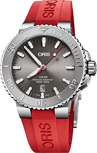 Oris Diving Mens Automatic Date Wrist Watch Analog 43.50 mm Round Grey Dial with Sapphire Crystal and Red Rubber Band 300m Water Resistant Business Genuine Luxury Watches – for Men