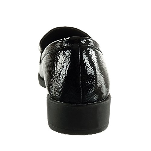 Angkorly Damen Schuhe Mokassin - Bi-Material - Slip-On - Nieten - Besetzt - Perle - Patent Blockabsatz 3 cm Schwarz