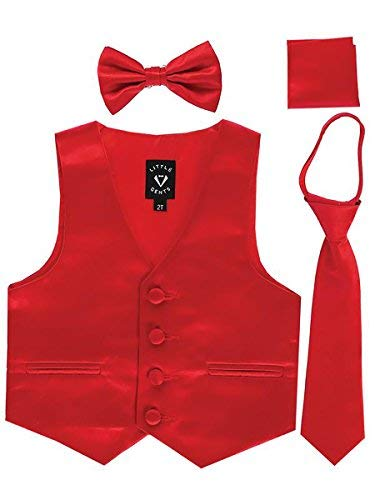 Red Little Boys 4 Piece Formal Satin Vest Set Zipper Tie Bowtie Hanky 5 ()