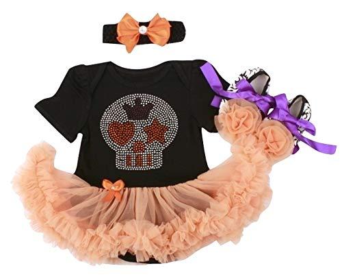 Summer Boutique Halloween Santa Reindeer Baby Toddler Girls 3 PCS Romper Bodysuit Outfit Costume Tutu Skirt Hair Band Bow Ballerina Shoes 0-24 Months