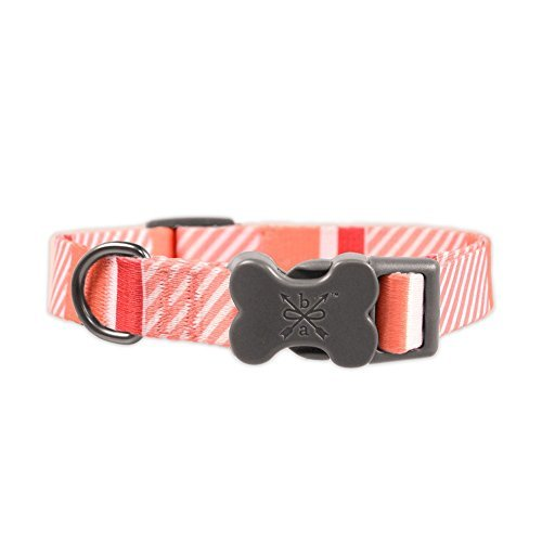 (Bow & Arrow Colorful Stripe Collar in Coral, Size Extra Small )