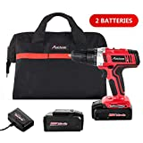 Avid Power Cordless Drill, 2 PACKS of Battery,18V Power Drill Driver Kit with 3/8' Keyless Chuck, Variable Speed, 265 In-lbs, 19+1 Position and LED Work Light