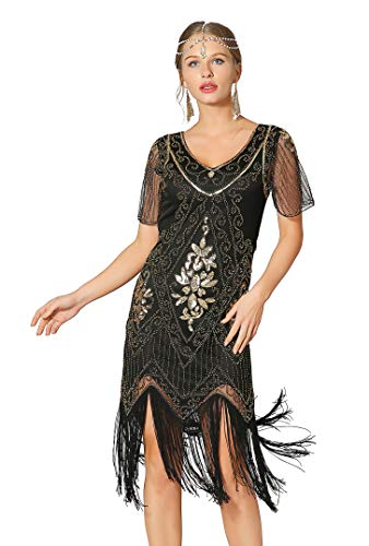 Radtengle Women's 1920s Flapper Dress Beaded Fringed Gatsby Dress with Short Sleeves for Roaring 20s Party Black/Gold -