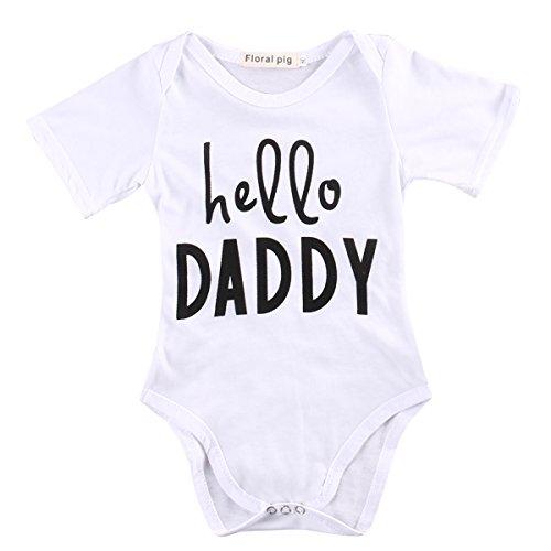 Infant Newborn Baby Boys Girls Funny Letter Print hello daddy Short Sleeve Romper Bodysuit Outfits