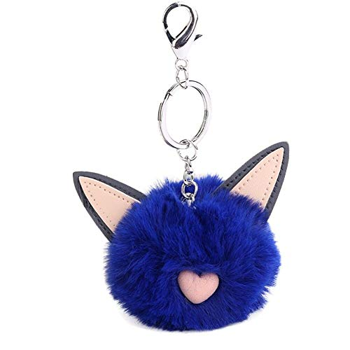 Lovely Fluffy Pom Rabbit Fur Ball Cat Ears Pendant Key Chain Key Ring Accessory (Colour - Royal Blue)