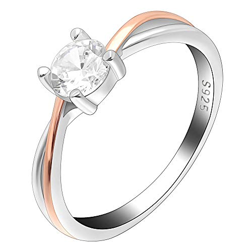 Ginger Lyne Collection Carina Two Tone Rose Gold Over Sterling Silver CZ Engagement Wedding Bridal Ring