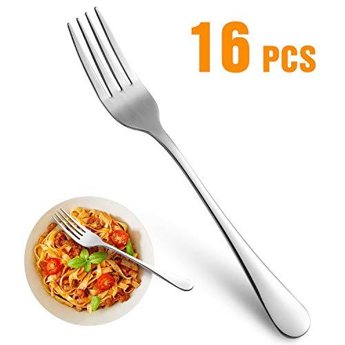Dinner Forks,Set of 16 Top Food Grade Stainless Steel Silverware Forks,Table Forks,Flatware Forks,8 Inches,Mirror Finish & Dishwasher Safe