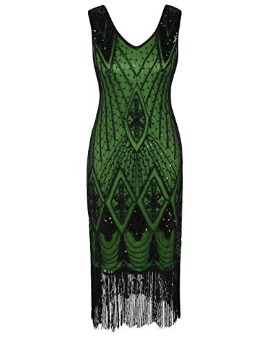 PrettyGuide Women 1920s Dress Gatsby Cocktail Sequin Art Deco Flapper Dress L Black Green