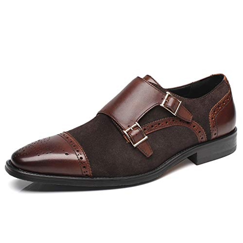 La Milano Men's Suede Leather Dress Shoes Double Monk Strap Cap Toe Slip On Loafer Oxford Classic Comfortable Formal Business Shoes for Men Darkbrown