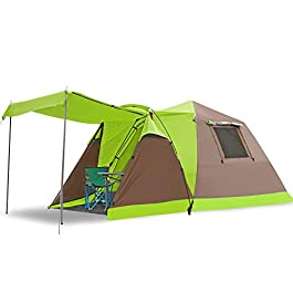 Star Home Pop Up Tent 3-4 Person Automatic Tent for Camping Double Layers Waterproof Family Tents Dual Doors & Tow Font Hall Sun Shelter Outdoor Sports(Blue) (Green with Snow Skirt)