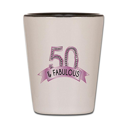 CafePress - 50 & Fabulous Diamonds - Shot Glass, Unique and Funny Shot Glass