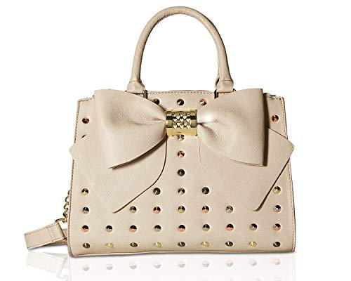 Betsey Johnson Women's Triple Entry Studded Satchel Taupe One Size