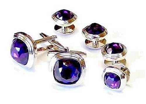 (Amethyst Faceted Soft Square Triple Tier Rhodium Silver Trim Studs and Cufflinks)