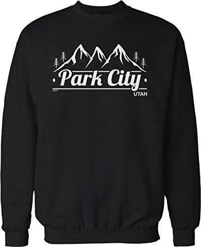 Hoodteez Park City, Utah Crew Neck Sweatshirt, XXXL Black
