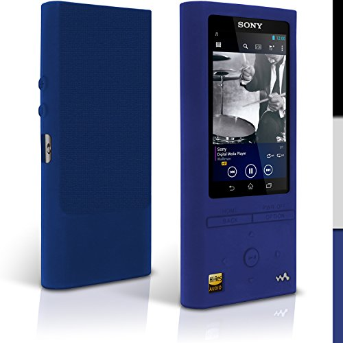 iGadgitz Blue Silicone Skin Case Cover for Sony Walkman NW-ZX100 128GB High-Resolution Audio MP3 Player + Screen Protector