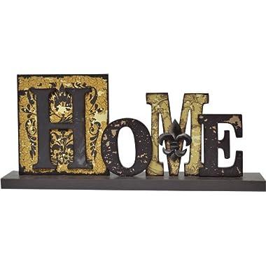 Home Cut Out Typeset Letters Sign Distressed Black Mustard Ivory Fleur De Lis Country Primitive Décor