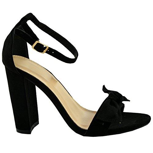 Schwarz Damen Peep Knöchelriemen Heels High Toe Schuhe Neue Bogen Damen Block Sandalen 5qqUPw