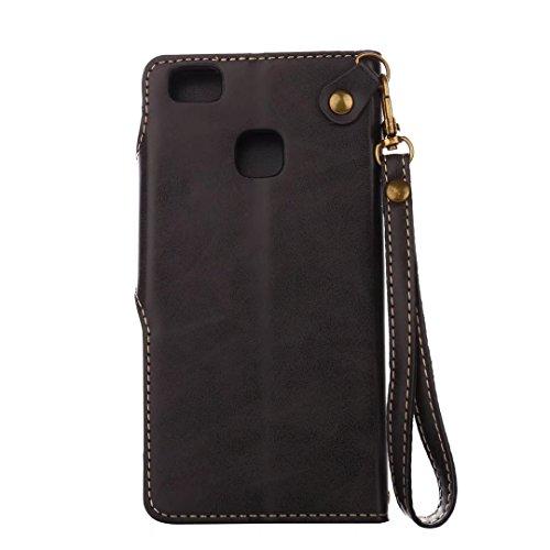 COWX Huawei P9 Lite Hülle Kunstleder Tasche Flip im Bookstyle Klapphülle mit Weiche Silikon Handyhalter PU Lederhülle für Huawei P9 Lite Tasche Brieftasche Schutzhülle
