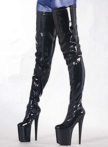 Wonderheel stiletto lack plateau over knee crotch stiefel Black Shiny