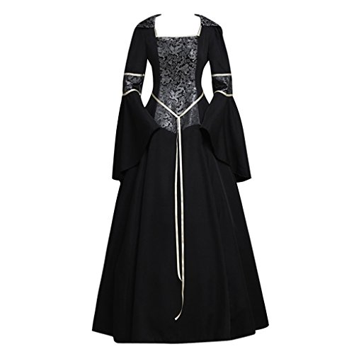 CosplayDiy Women's Medieval Gothic Witch Vampire Costume Dress (Witch King Cosplay Costume)