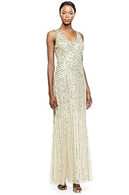 Aidan Mattox Sequin Tulle V-neck Sleeveless Long Evening Gown Dress