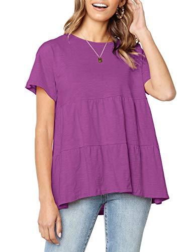 (Women's Short Sleeve Flounce Blouse Loose Solid Ruffle High Low Hem Tunic Top Casual Round Neck T Shirt (Purple, XXL))