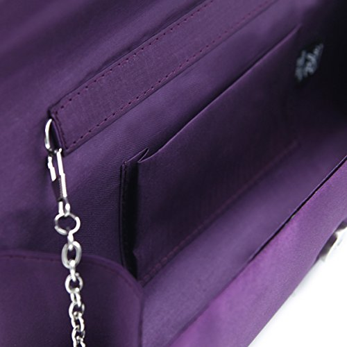 Elegant Diff Clutch Cross Bag Rhinestones Pleated Colors Oval Evening Purple Satin q6qarx8F