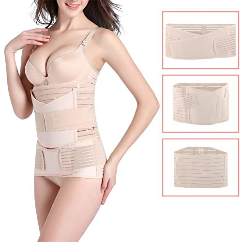 3 in 1 Postpartum Belly Wrap, Women C Section Girdle Belt Post Partum Support Recovery Band Beige (Best Belly Band Post C Section)