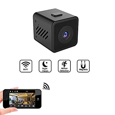 WiFi Hidden Camera, HD 1080P Mini Spy Camera Motion Detection Loop Recording, Wireless Security Camera Night Vision up to 17ft Home Security, Support Max 128G (No SD Card Included)