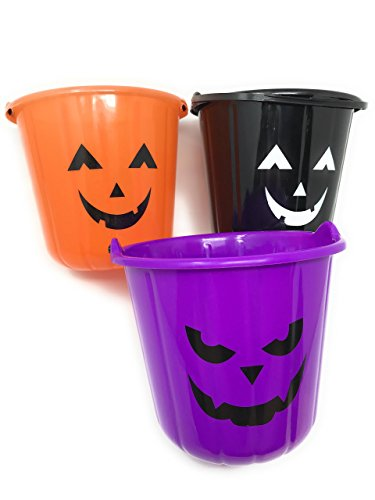3 Halloween Treat Bucket Assortment (Orange, Black, and Purple) - 7