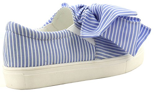 Cape Robbin Dames Seersucker Bow Slip Op Fashion Sneaker Blauw
